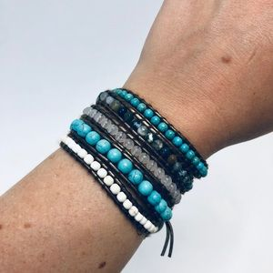 Turquoise and stone bead wrap bracelet or necklace